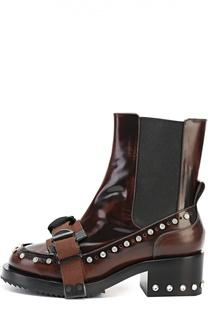 Кожаные ботинки со стразами и ремешком No. 21