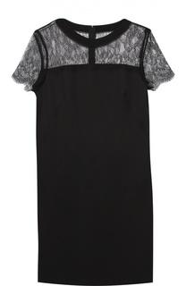 Платье прямого кроя с круглым вырезом и кружевной вставкой Escada Sport