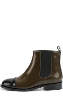 Кожаные ботинки с контрастным мысом Marni