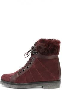 Замшевые ботинки с прострочкой и меховой отделкой Baldan