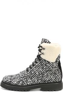 Ботинки из вязаного текстиля на шнуровке Moncler