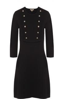 Приталенное платье с укороченным рукавом и декоративными пуговицами Burberry Brit