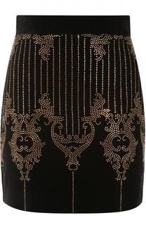 Мини-юбка с декоративной отделкой стразами Balmain