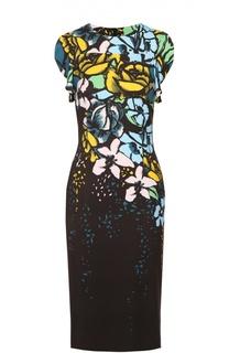 Приталенное платье без рукавов с цветочным принтом Escada