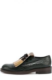 Ботинки из фактурной кожи с бахромой Marni
