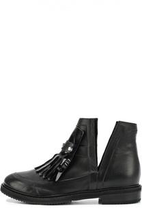 Кожаные ботинки с бахромой и заклепками Aperlai