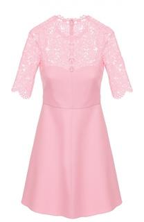 Приталенное мини-платье с кружевным лифом и коротким рукавом Valentino