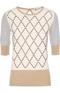 Кашемировый пуловер с круглым вырезом и контрастной отделкой Colombo