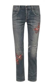 Укороченные джинсы с потертостями и цветочной вышивкой Citizens Of Humanity