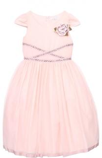 Приталенное платье с коротким рукавом и брошью Monnalisa