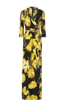 Платье-макси с запахом и цветочным принтом Dolce & Gabbana
