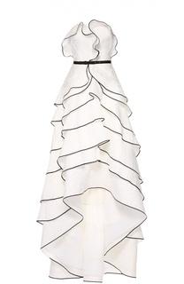 Многоярусное платье-бюстье асимметричного кроя Oscar de la Renta