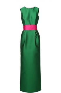 Платье прямого кроя без рукавов с контрастным поясом и подолом Oscar de la Renta