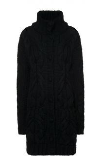 Шерстяное платье фактурной вязки с высоким воротником Dolce & Gabbana