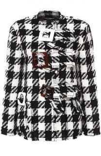 Укороченное пальто в клетку с декоративной отделкой Dolce & Gabbana