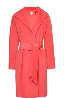 Пальто прямого кроя с широкими лацканами и поясом Armani Collezioni
