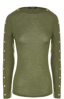 Приталенный пуловер с вырезом-лодочка и декоративной отделкой Balmain