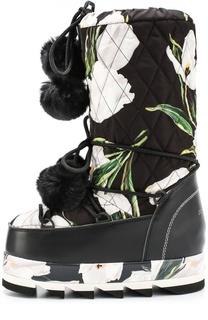 Сапоги-луноходы Cortina с принтом и помпонами Dolce & Gabbana