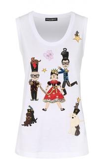 Топ прямого кроя с контрастными нашивками Dolce & Gabbana