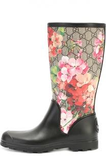 Резиновые сапоги Prato с цветочным принтом Gucci