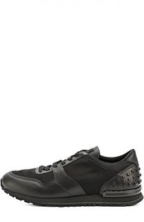 Кожаные кроссовки с текстильными вставками и фактурной отделкой Tod's