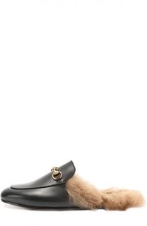 Кожаные сабо Princetown с пряжкой-трензелем Gucci