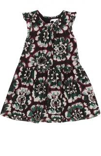 Платье из смеси хлопка и шелка с оборками и цветочным принтом Burberry