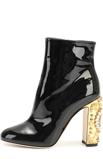 Лаковые полусапоги Vally на каблуке с декором Dolce & Gabbana