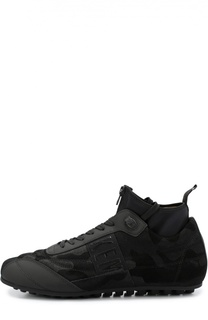 Замшевые кроссовки с камуфляжным принтом Dirk Bikkembergs