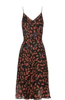 Шелковое платье на бретельках с контрастным принтом Diane Von Furstenberg
