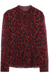 Шелковая блуза с воротником-стойкой и контрастным принтом Diane Von Furstenberg