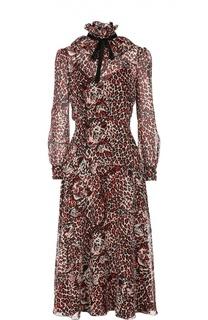 Шелковое приталенное платье с оборками и звериным принтом Saint Laurent