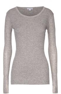 Облегающий хлопковый пуловер с круглым вырезом James Perse