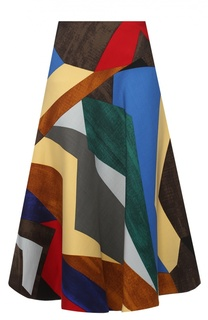 Шерстяная расклешенная юбка с ярким принтом Marni