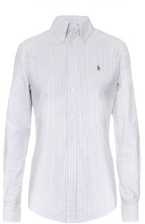 Хлопковая блуза в полоску с вышитым логотипом бренда Polo Ralph Lauren