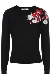 Пуловер с круглым вырезом и цветочной вышивкой Blugirl
