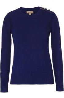 Кашемировый пуловер с круглым вырезом и декоративной отделкой Burberry
