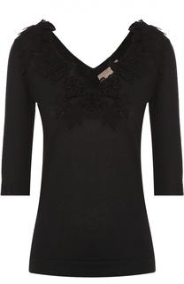 Приталенный пуловер с V-образным вырезом и цветочной отделкой Cruciani
