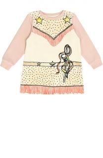Платье с длинным рукавом и контрастным принтом Stella McCartney