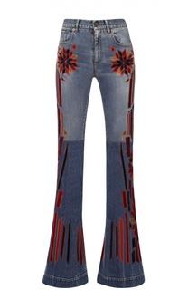 Расклешенные джинсы с контрастными нашивками Roberto Cavalli