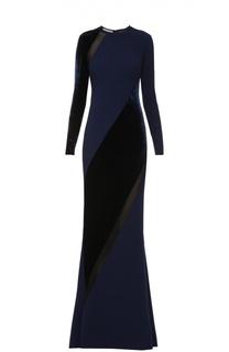 Платье в пол с длинным рукавом и бархатными вставками Stella McCartney