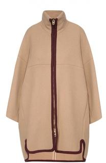 Шерстяное пальто на молнии с высоким воротником и контрастной отделкой Chloé