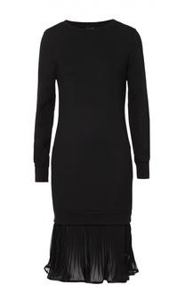 Платье с длинным рукавом и прозрачной оборой Armani Jeans