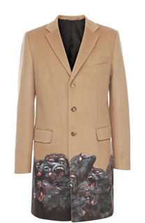 Однобортное пальто из смеси шерсти и кашемира с принтом Givenchy