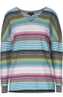 Шерстяной пуловер в полоску с V-образным вырезом Escada
