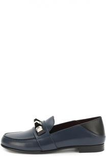 Кожаные лоферы с декором Fendi