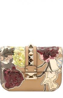 Сумка Glam Lock small с аппликацией и вышивкой Valentino