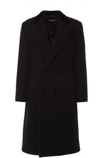 Двубортное шерстяное пальто с карманами Dolce & Gabbana