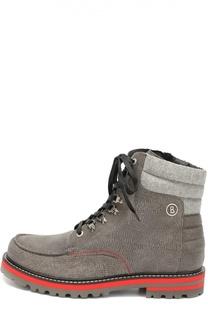 Высокие кожаные ботинки с текстильной вставкой Bogner