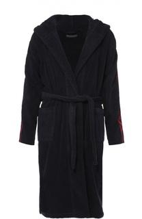 Хлопковый халат с поясом и капюшоном Emporio Armani